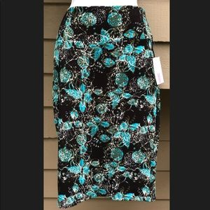 LuLaRoe Floral Cassie Skirt Medium Black Teal NWT